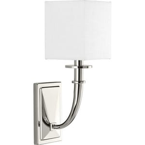 Progress Lighting Avana 5-5/8 x 16 in. 60W 1-Light Candelabra E-12 Incandescent Wall Sconce in Polished Nickel PP710025104
