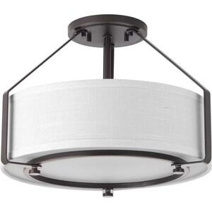 Progress Lighting Ratio 75W 3-Light Medium E-26 Base Incandescent Semi-Flush Mount Ceiling Fixture in Antique Bronze PP360420