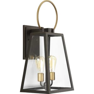 Progress Lighting Barnett 60W 2-Light Outdoor Wall Lantern in Antique Bronze PP560079020