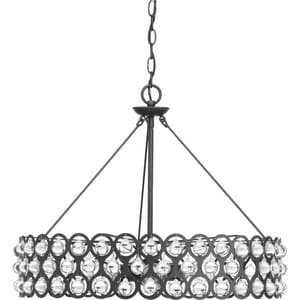 Progress Lighting Vestique 25-1/4 in. 6-Light Pendant with Clear Glass in Graphite PP500004143