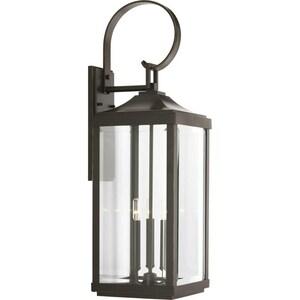 Progress Lighting Gibbes Street 3-Light 60W Up Lighting Large Wall Lantern in Antique Bronze PP560023020