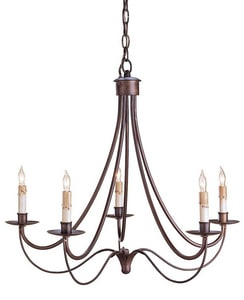 Currey and Company Cascade 25 in. 60W 5-Light Candelabra E-12 Chandelier in Hand Rubbed Bronze C9540