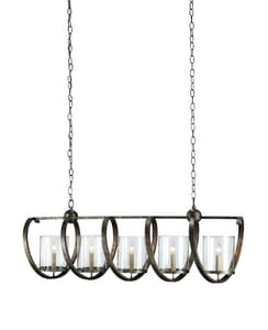 Currey and Company Rectangular Chandelier in Pyrite Bronze C9915