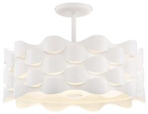 George Kovacs Coastal Current 38W 1-Light LED Semi-Flush Mount Ceiling Fixture in Sand White KP1302655L
