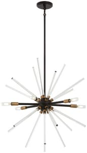 George Kovacs Spiked 60W 6-Light Candelabra E-12 Incandescent Pendant in Painted Bronze with Natural Brushed Brass KP1792416