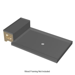 Tile Redi USA 60 x 44 in. Polyurethane Shower Pan and Bench Kit with Center Drain in Grey T4848CRB48KIT