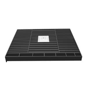 Tile Redi USA Redi Base® 48 x 36 in. PVC Double Curb Shower Pan with Center Drain in Grey TP3648CDLPVC