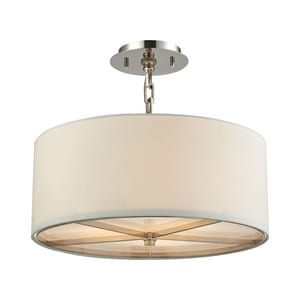ELK Lighting Selma 17 in. 60W 3-Light Medium E-26 Incandescent Pendant in Polished Nickel E316503