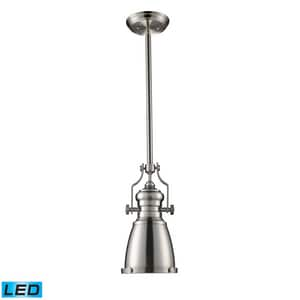 ELK Lighting Chadwick 7-1/2 in. 9W 1-Light Medium E-26 LED Pendant in Satin Nickel E661191LED
