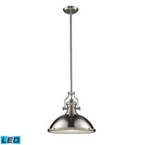 ELK Lighting Chadwick 17 in. 9W 1-Light Medium E-26 LED Pendant in Satin Nickel E661281LED