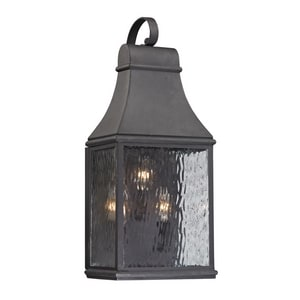 ELK Lighting Forged Jefferson 60W 3-Light Candelabra E-12 Incandescent Outdoor Wall Sconce in Charcoal E470723