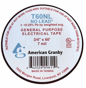 American Granby 60 ft. Electrical Tape in Black AT60NL