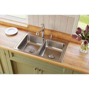 Elkay Lustertone™ Classic 33 x 21-1/4 in. 2 Hole Stainless Steel Double Bowl Drop-in Kitchen Sink in Lustrous Satin ELR33212