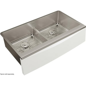 Elkay Crosstown® 35-7/8 x 20-5/16 in. 2-Bowl Farmhouse Apron Front 304 Stainless Steel Kitchen Sink in Polished Satin ECTXFA34179C
