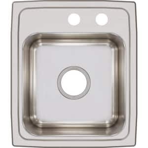 Elkay Lustertone® 2-Hole 1-Bowl Stainless Steel Top Mount Bar Sink in Lustertone ELR1517MR2