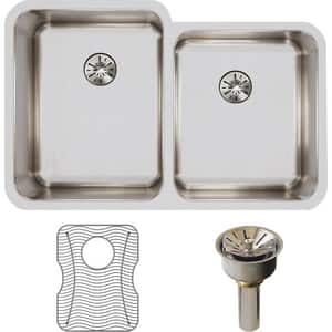 Elkay Lustertone™ Classic 31-1/4 x 20-1/2 in. No Hole Stainless Steel Double Bowl Undermount Kitchen Sink in Lustrous Satin EELUH3120RPDBG
