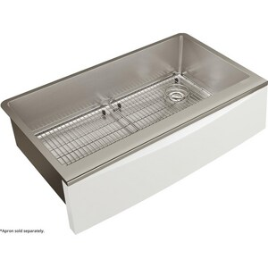 Elkay Crosstown® 35-7/8 x 20-5/16 in. 1-Bowl Farmhouse Apron Front 304 Stainless Steel Kitchen Sink in Polished Satin ECTXF134179RC