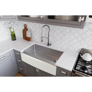 Elkay Crosstown® 35-7/8 x 20-5/16 in. No Hole Stainless Steel Single Bowl Apron Front Kitchen Sink in Polished Satin ECTXF134179R