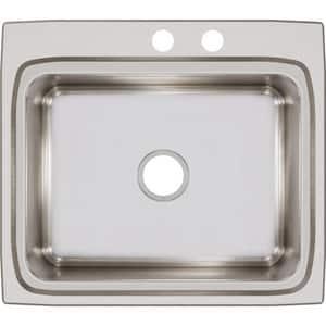 Elkay Lustertone™ Classic 25 x 22 in. 2 Hole Stainless Steel Single Bowl Drop-in Kitchen Sink in Lustrous Satin ELR2522MR2