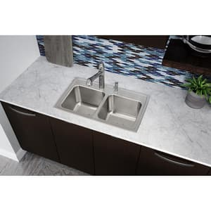 Elkay Classic® 1-Hole 2-Bowl Self-rimming or Drop-in Kitchen Sink in Lustertone EDLR2918101