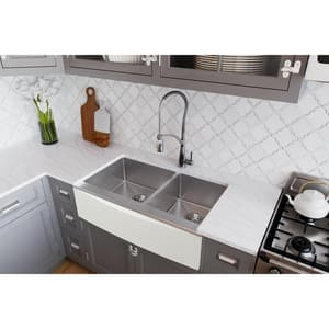 Elkay Crosstown® 35-7/8 x 20-5/16 in. 2-Bowl Farmhouse Apron Front 304 Stainless Steel Kitchen Sink in Polished Satin ECTXF234179