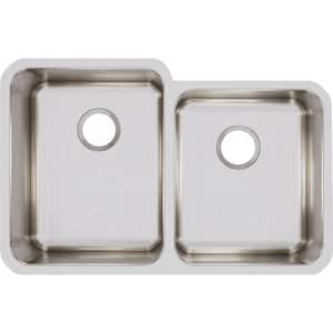 Elkay Lustertone™ Classic 31-1/4 x 20-1/2 in. No Hole Stainless Steel Double Bowl Undermount Kitchen Sink in Lustrous Satin EELUH3120R