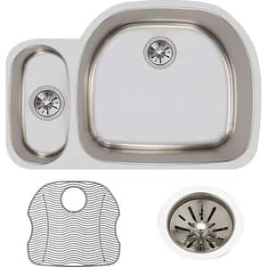 Elkay Lustertone™ Classic 31-1/2 x 21-1/8 in. No Hole Stainless Steel Double Bowl Undermount Kitchen Sink in Lustrous Satin EELUH322110LDBG