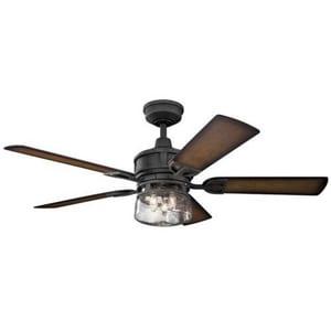 Kichler Lighting Lyndon Patio 64W 5-Blade Ceiling Fan in Distressed Black KK310139DBK