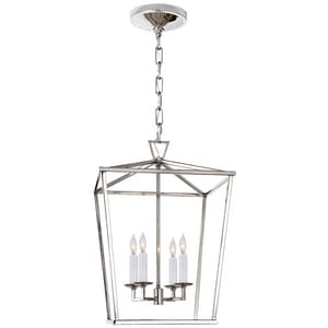 Visual Comfort & Co E.F. Chapman Darlana Candelabra E-12 Ceiling Light Lantern in Polished Nickel VCHC2164PN