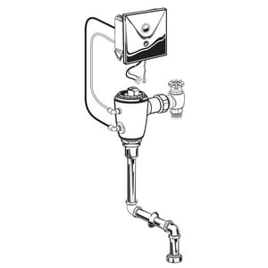 American Standard Selectronic® 6-1/4 in. 1 gpf Sensor Operated Concealed Urinal Flush Valve with Top Spud A606B210007