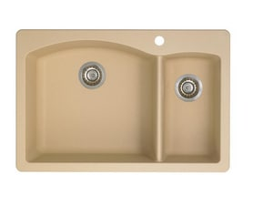 Blanco America Diamond™ 33 x 22 in. 1 Hole Composite Double Bowl Drop-in Kitchen Sink in Biscotti B44020