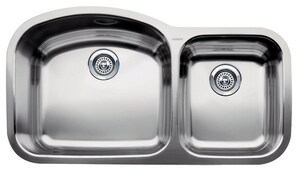 Blanco America Wave™ 37-13/32 x 20-7/8 in. No Hole Stainless Steel Double Bowl Undermount Kitchen Sink in Satin Polished B440242