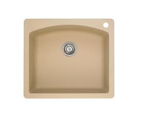 Blanco America Diamond™ 25 x 22 in. 1 Hole Composite Single Bowl Drop-in Kitchen Sink in Biscotti B441215