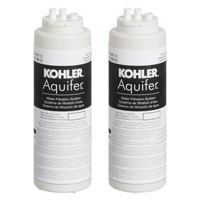 Kohler Aquifer® 1.70 gpm High Impact Plastic Replacement Filter Cartridge 2-Pack for K-77685 Aquifer Water Filtration System K77688-NA