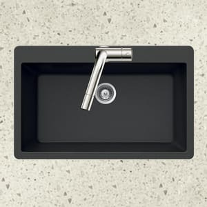 Houzer Quartztone® 33 x 22 in. No Hole Composite Single Bowl Drop-in Kitchen Sink in Midnite HV100MIDNITE