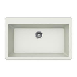 Houzer Quartztone® 33 x 22 in. No Hole Composite Single Bowl Drop-in Kitchen Sink in Cloud HV100CLOUD