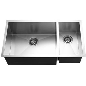 Houzer Contempo Series 33 x 18 in. No Hole Stainless Steel Double Bowl Undermount Kitchen Sink in Brushed Satin HCTO3370SR1