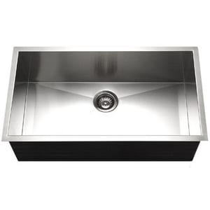 Houzer Contempo Series 18 ga 1-Bowl Undermount Stainless Steel Kitchen Sink in Brushed Satin HCTG3200