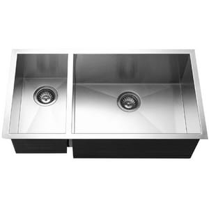 Houzer Contempo Series Stainless Steel Double Bowl Stainless Steel Undermount Kitchen Sink in Brushed Satin Stainless Steel HCTO3370SL