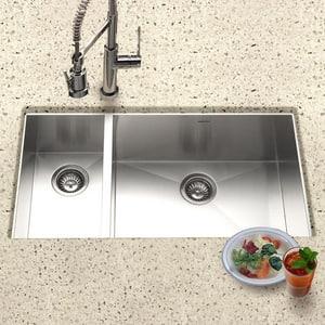 Houzer Contempo Series 18 ga 2-Bowl Undermount Stainless Steel Kitchen Sink in Brushed Satin HCTO3370SL
