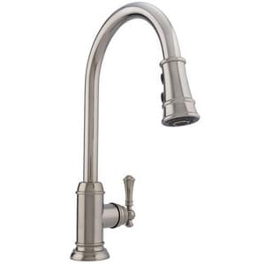 Mirabelle® Amberley Single and Pull Down Handle Kitchen Faucet in Polished Nickel MIRXCAM100MPN