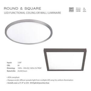 W.A.C. Lighting 20W 1-Light Integrated LED Flush Mount Ceiling Fixture in Brushed Nickel WFM11SQ930BN