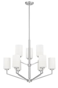 Park Harbor® Cottica 60W 9-Light Medium E-27 Incandescent Chandelier in Brushed Nickel PHFHL1029BN
