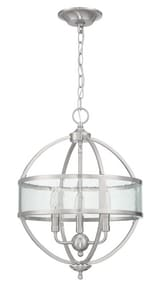 Foundations™ by Park Harbor® 14 in. 60W 3-Light Candelabra Pendant in Brushed Nickel PHFPL1073