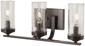 Minka Lavery Elyton 60W 3-Light Candelabra E-12 Vanity Fixture in Downtown Bronze with Gold M4653579