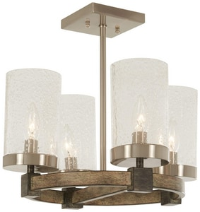 Minka-Lavery Bridlewood 60W 4-Light Semi-Flush Mount Ceiling Fixture in Stone Grey with Brushed Nickel M4637106