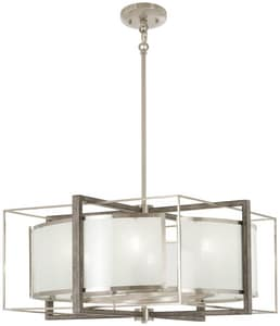Minka Lavery Tyson's 60W 6-Light Candelabra E-12 Pendant in Brushed Nickel with Shale Wood M4567098