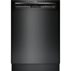 Bosch 800 Series 23-9/16 in. 6/5-Cycle Undercounter Dishwasher with Recessed Handle in Black BSHEM78W56N