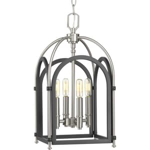 Progress Lighting Westfall 240W 4-Light Candelabra E-12 Incandescent Foyer Pendent in Graphite Grey with Brushed Nickel PP500038143