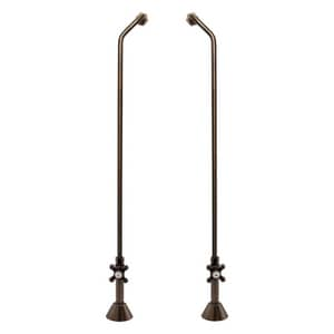 Signature Hardware Double Offset Tub Supplies with Cross Handle Valves in Oil Rubbed Bronze SH349308